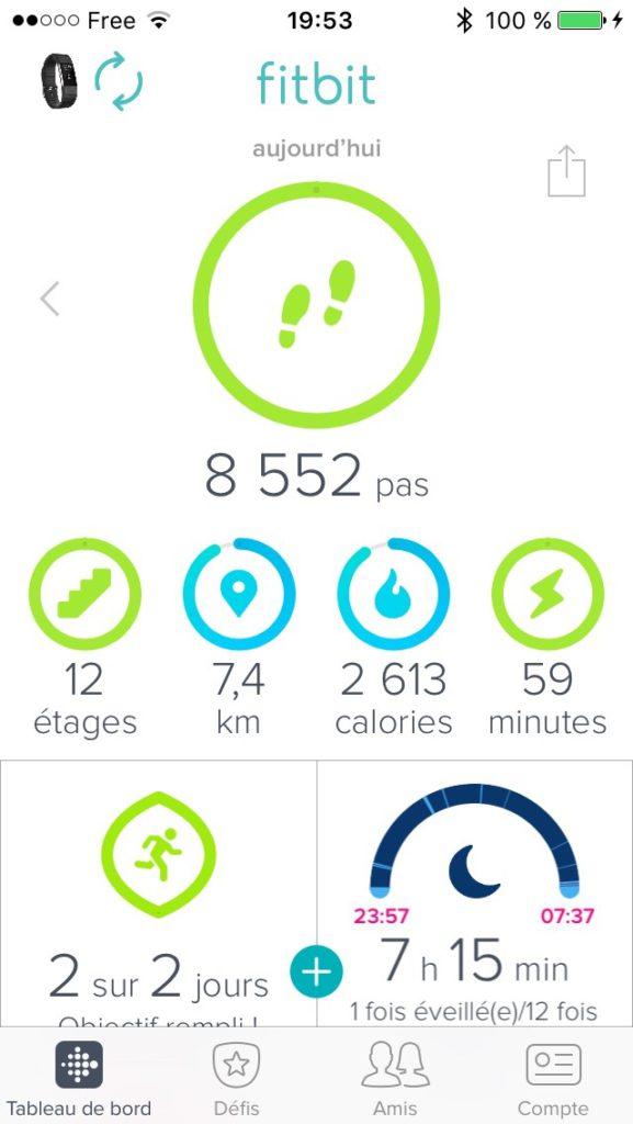 Vue de l'interface de l'application iPhone Fitbit